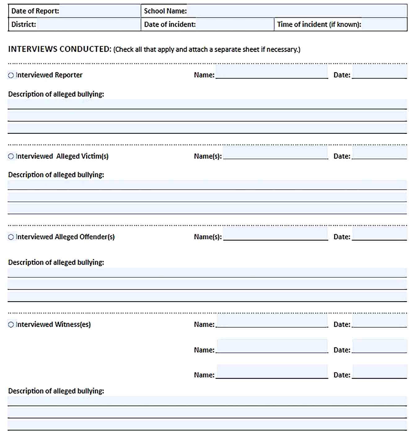 Sample bullying investigation report template