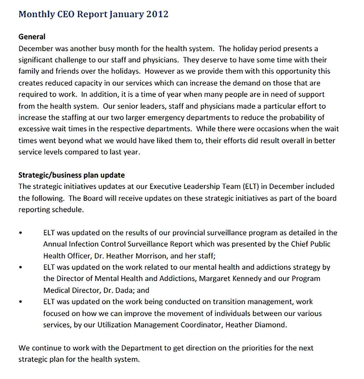 Sample ceo monthly report