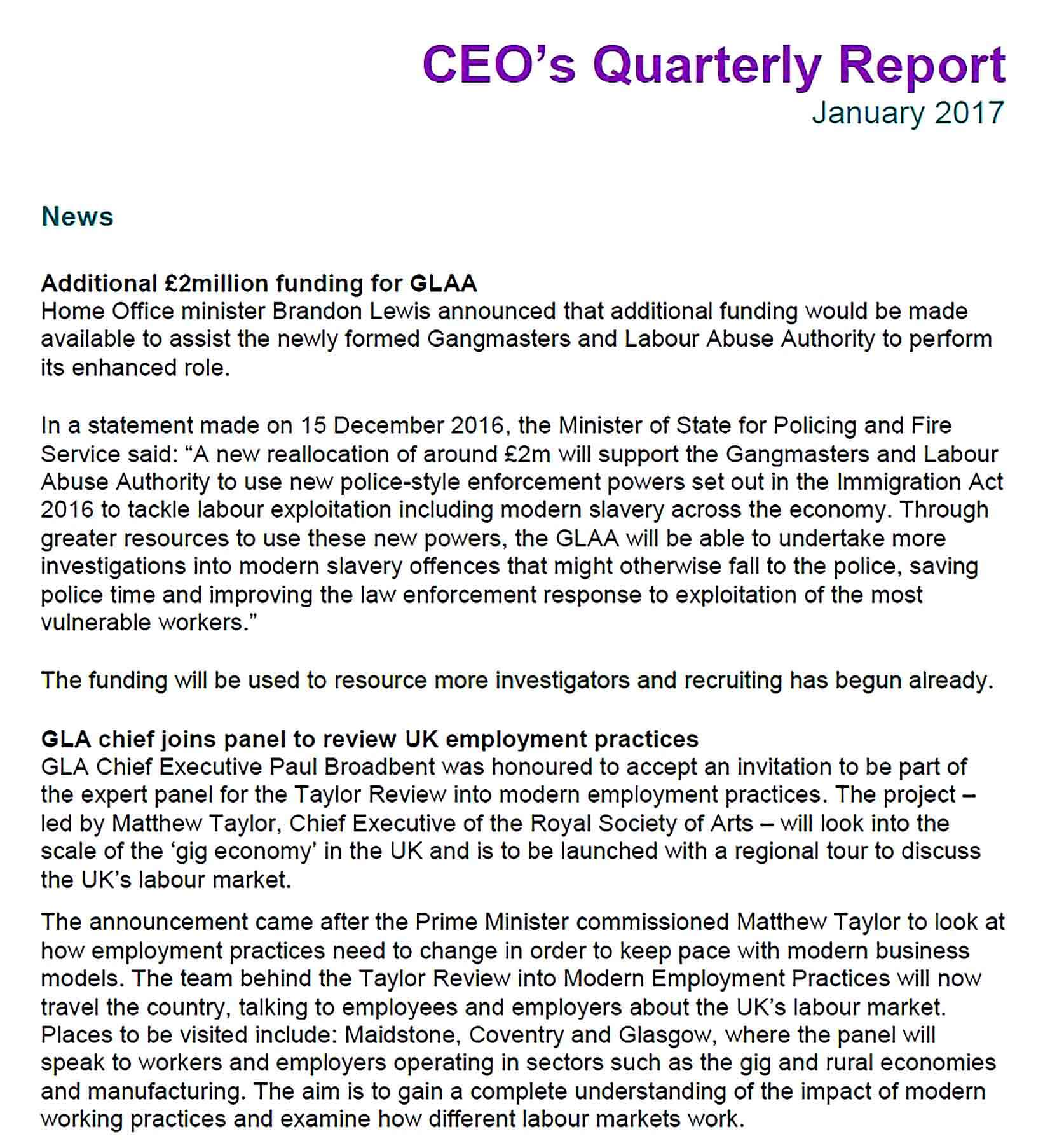 Sample ceo report january 2017