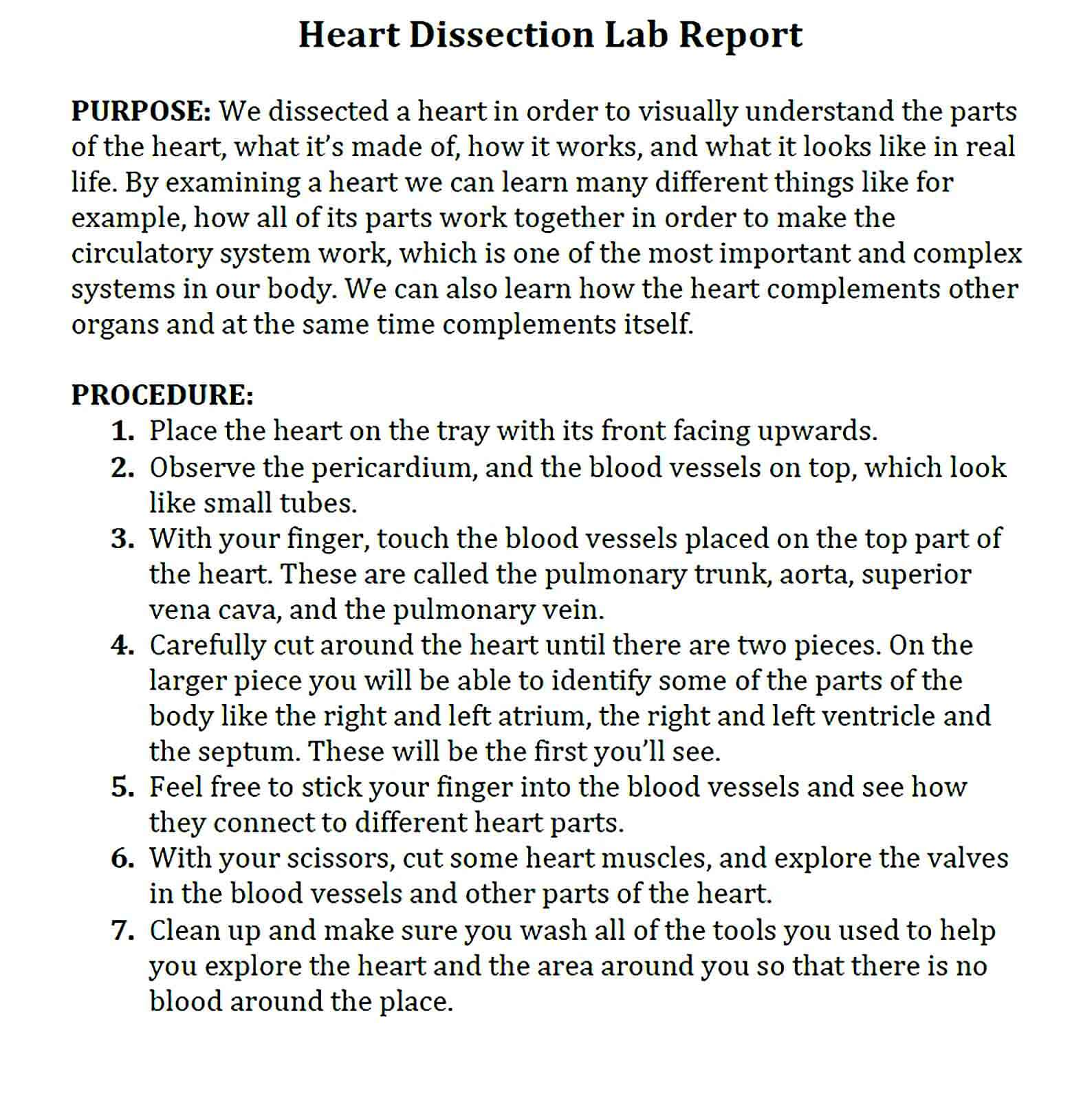 Sample dissection lab report template