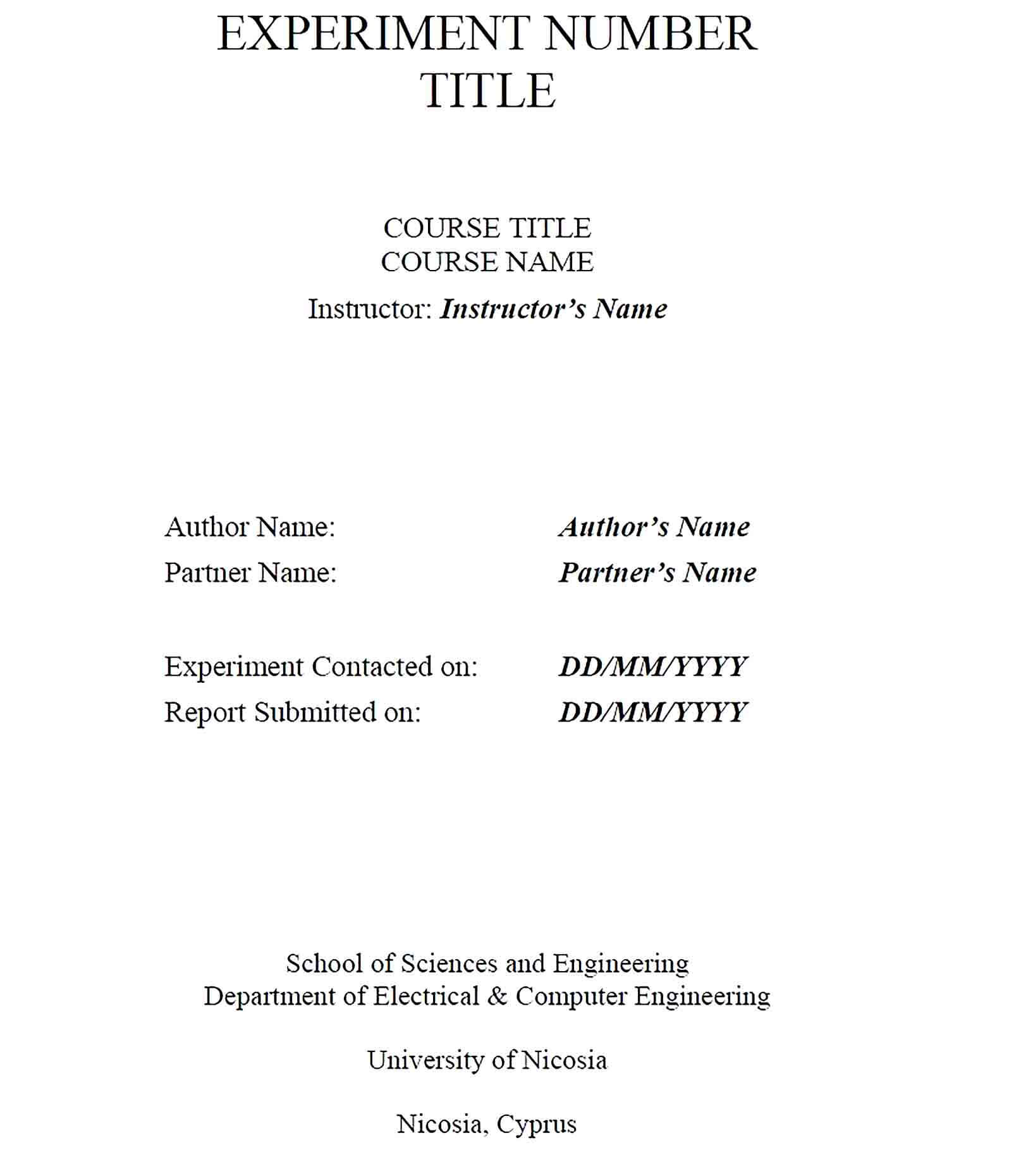 Sample engineering lab report template 1