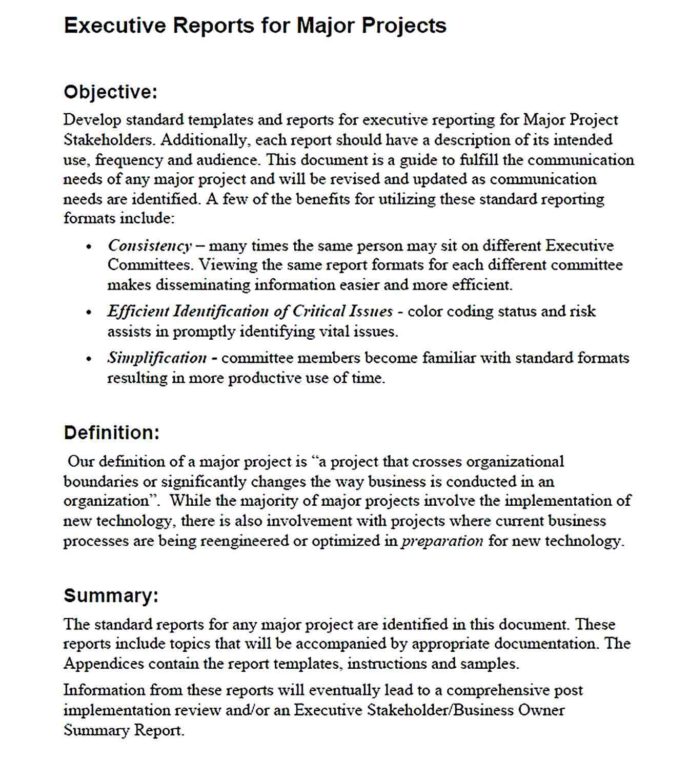 Sample example of executive report