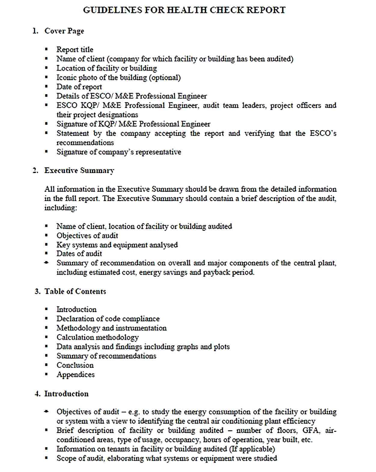 Sample template of energy audit report