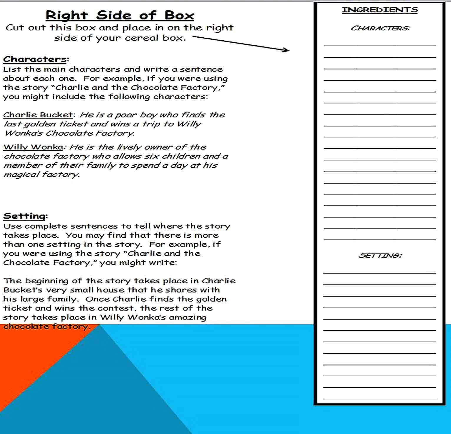 cereal box book report template 4
