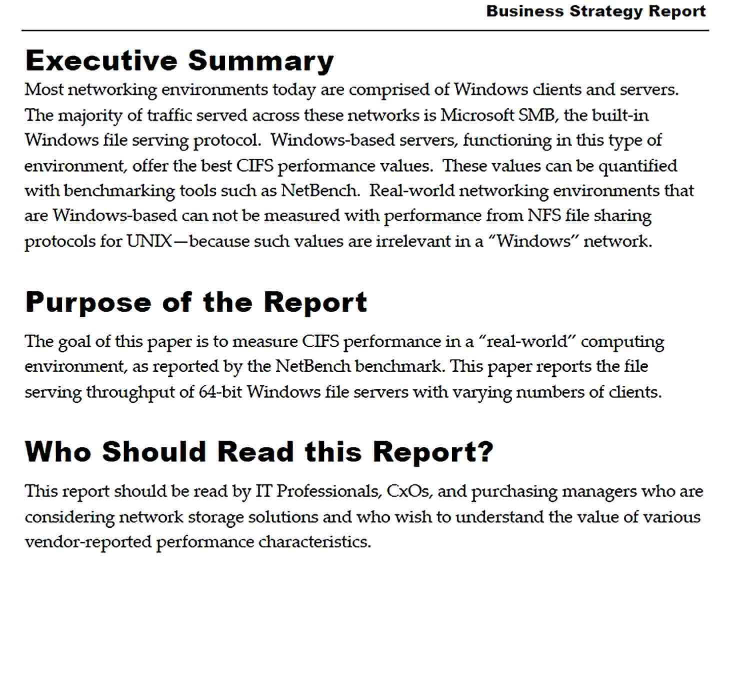 Sample Business Strategy Report Template
