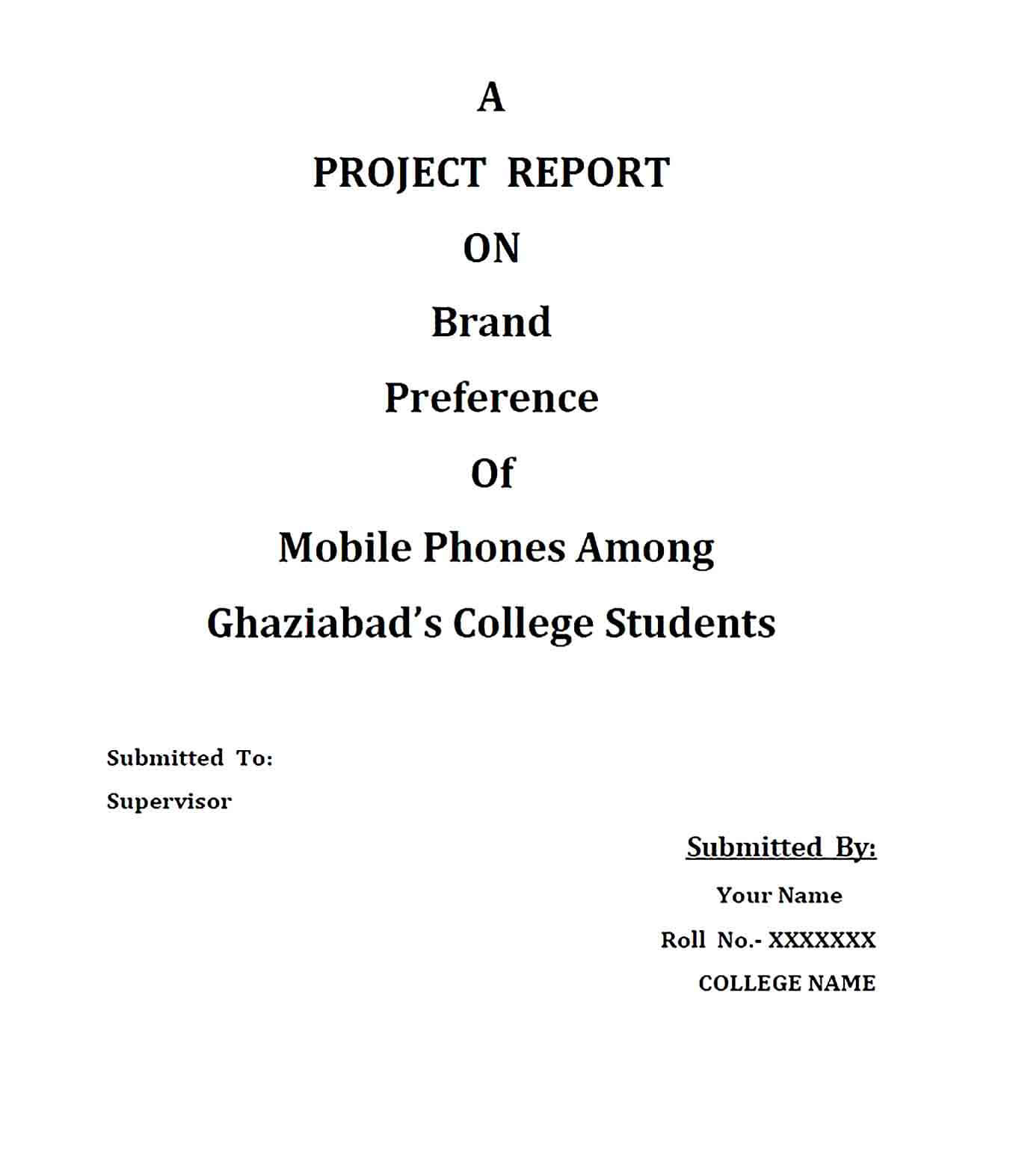 Sample College Project Report Template