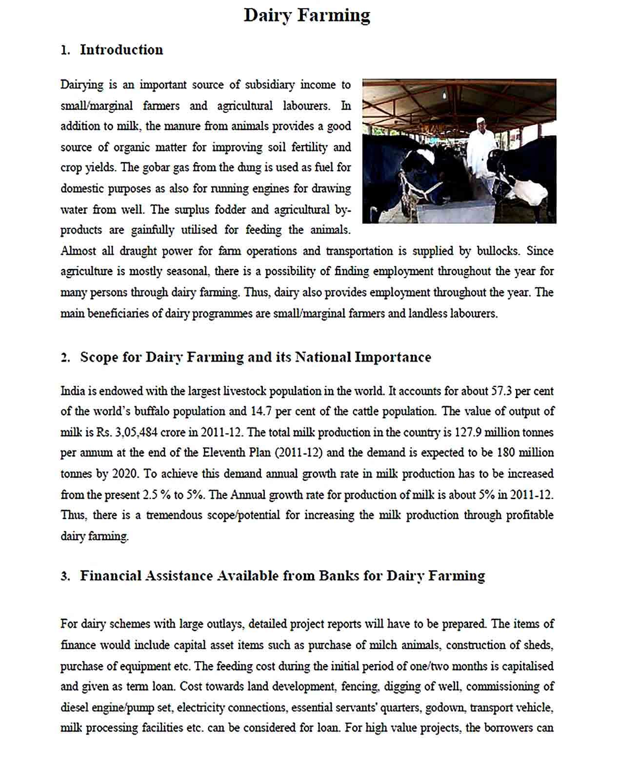 Sample Dairy Farming Project Report