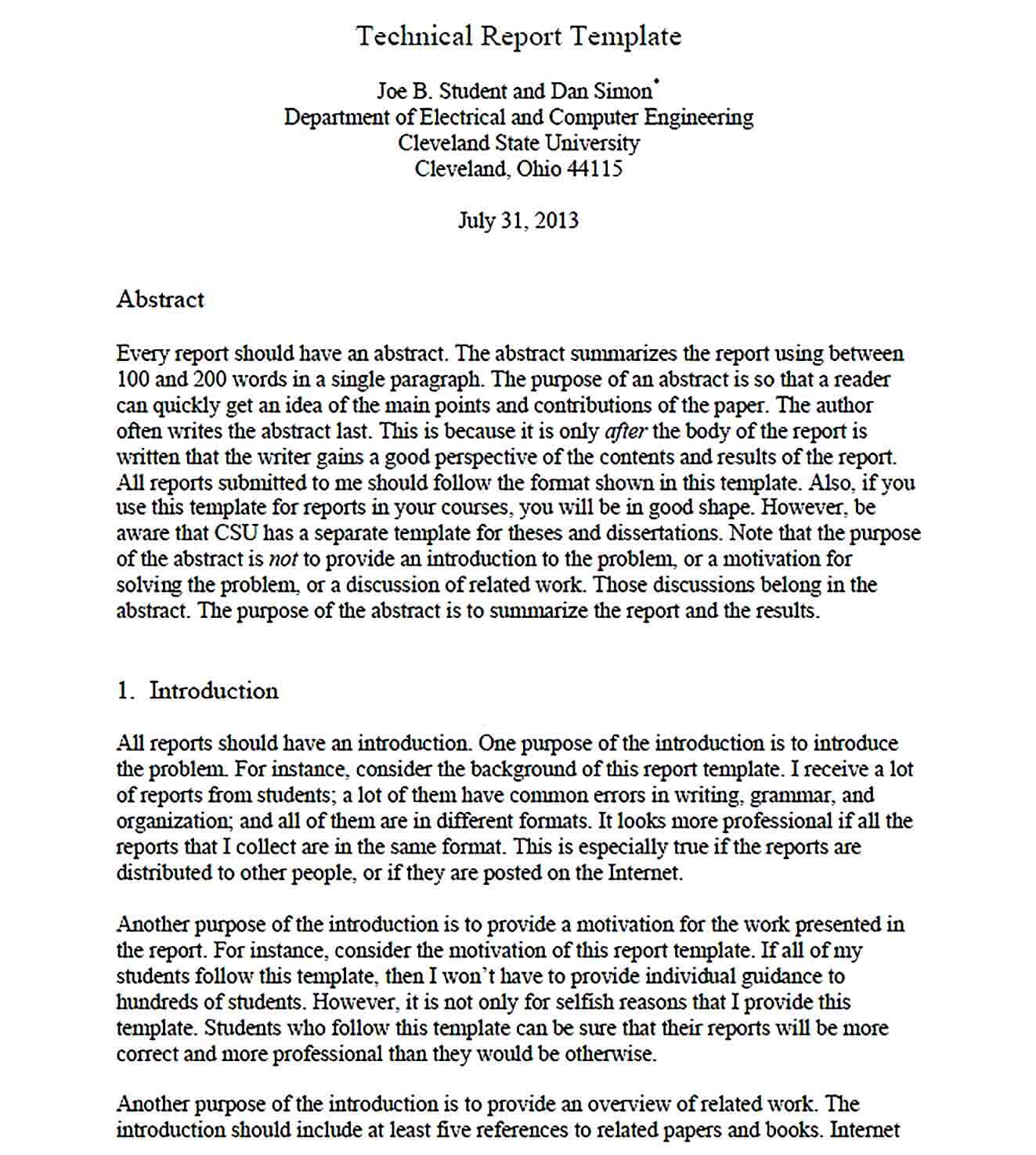 Sample Electrical and Computer Engineering Technical Report Template