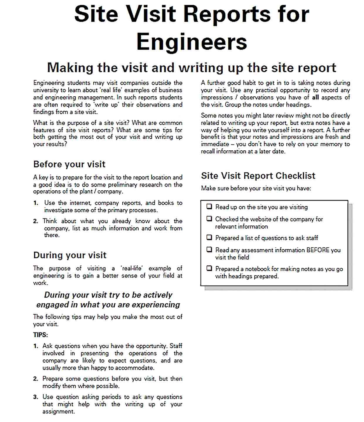 Sample Engineer Site Report