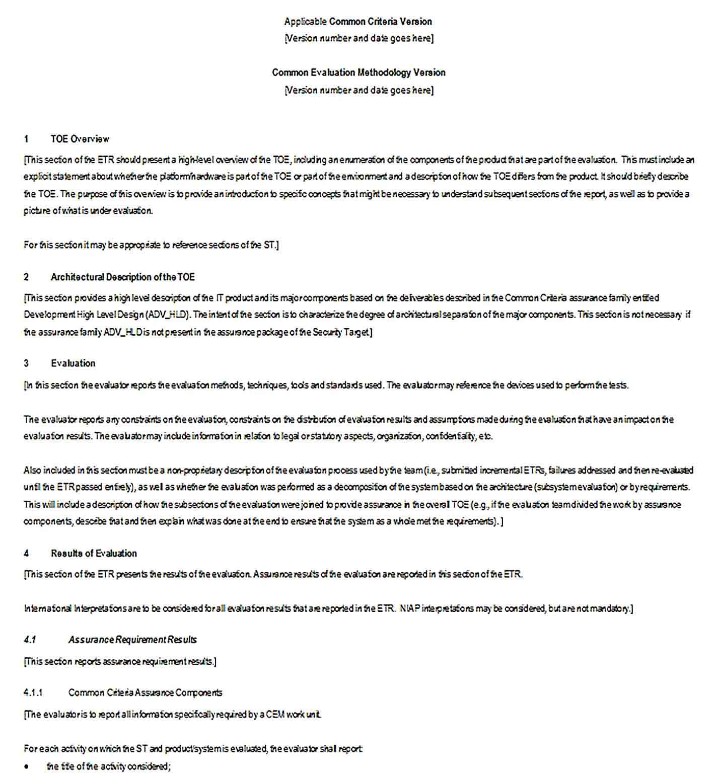 Sample Evaluation Technical Report Example