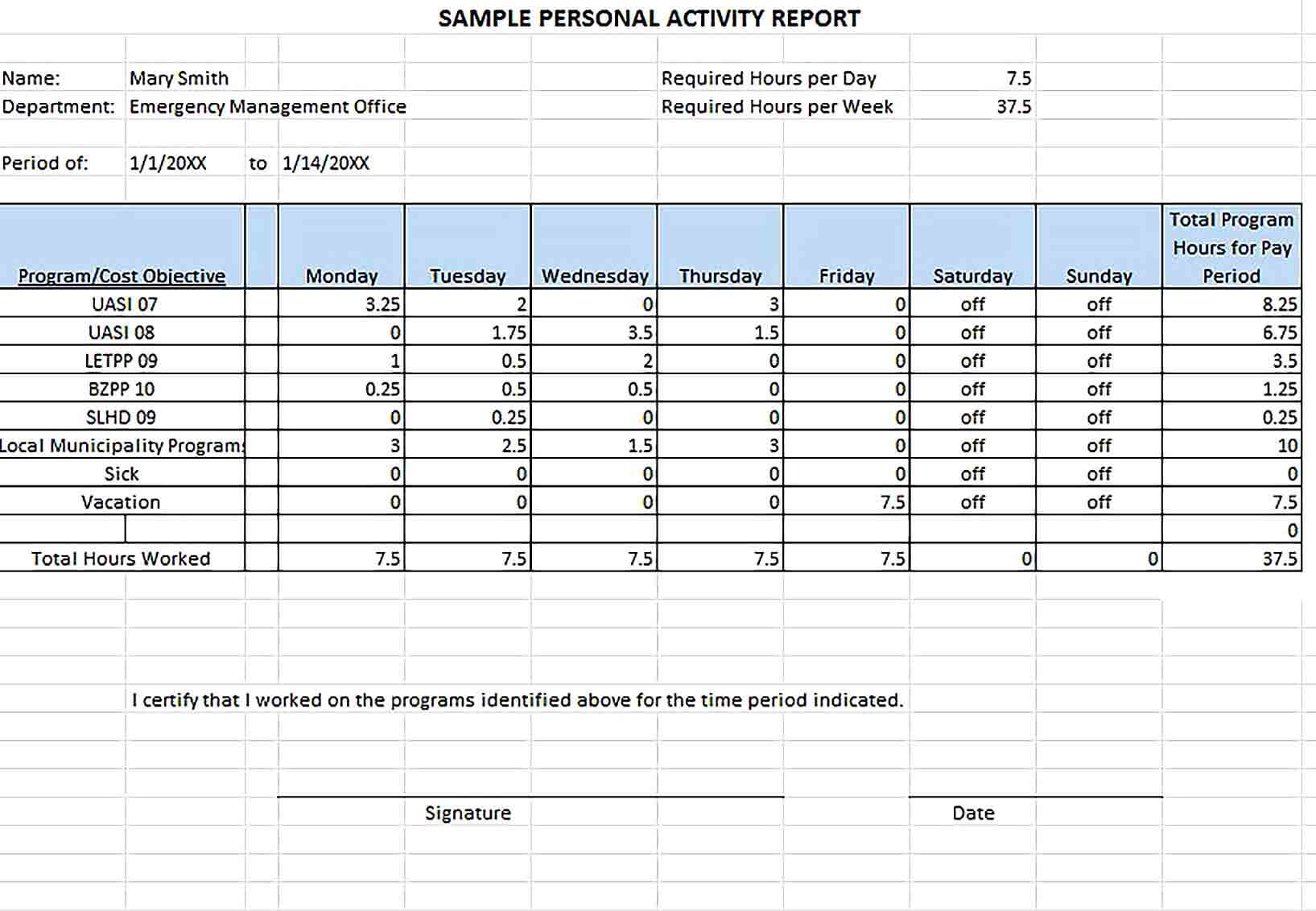 Sample Example Sample Personal Activity Report Template