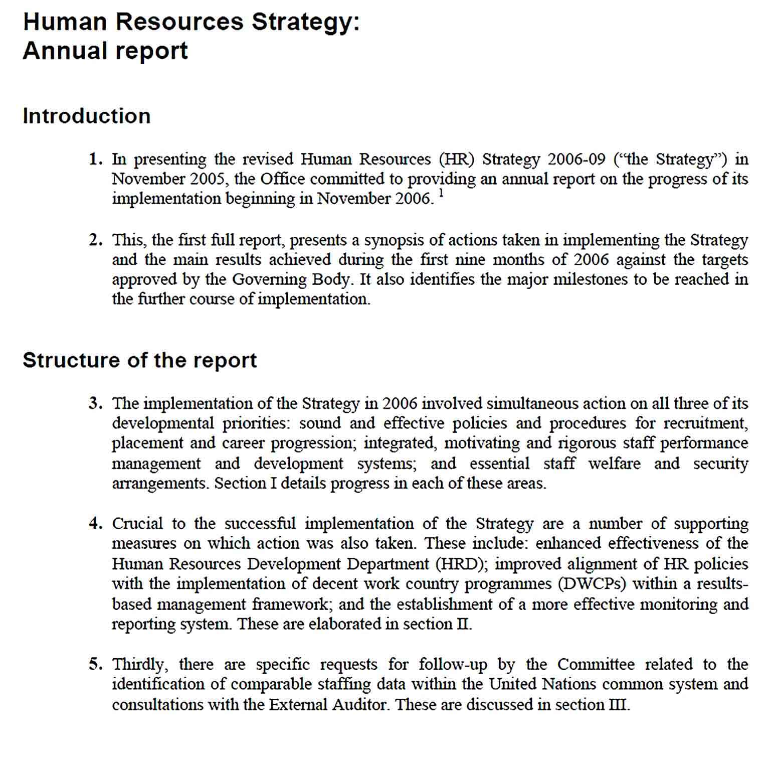 Sample HR Strategy Report Template