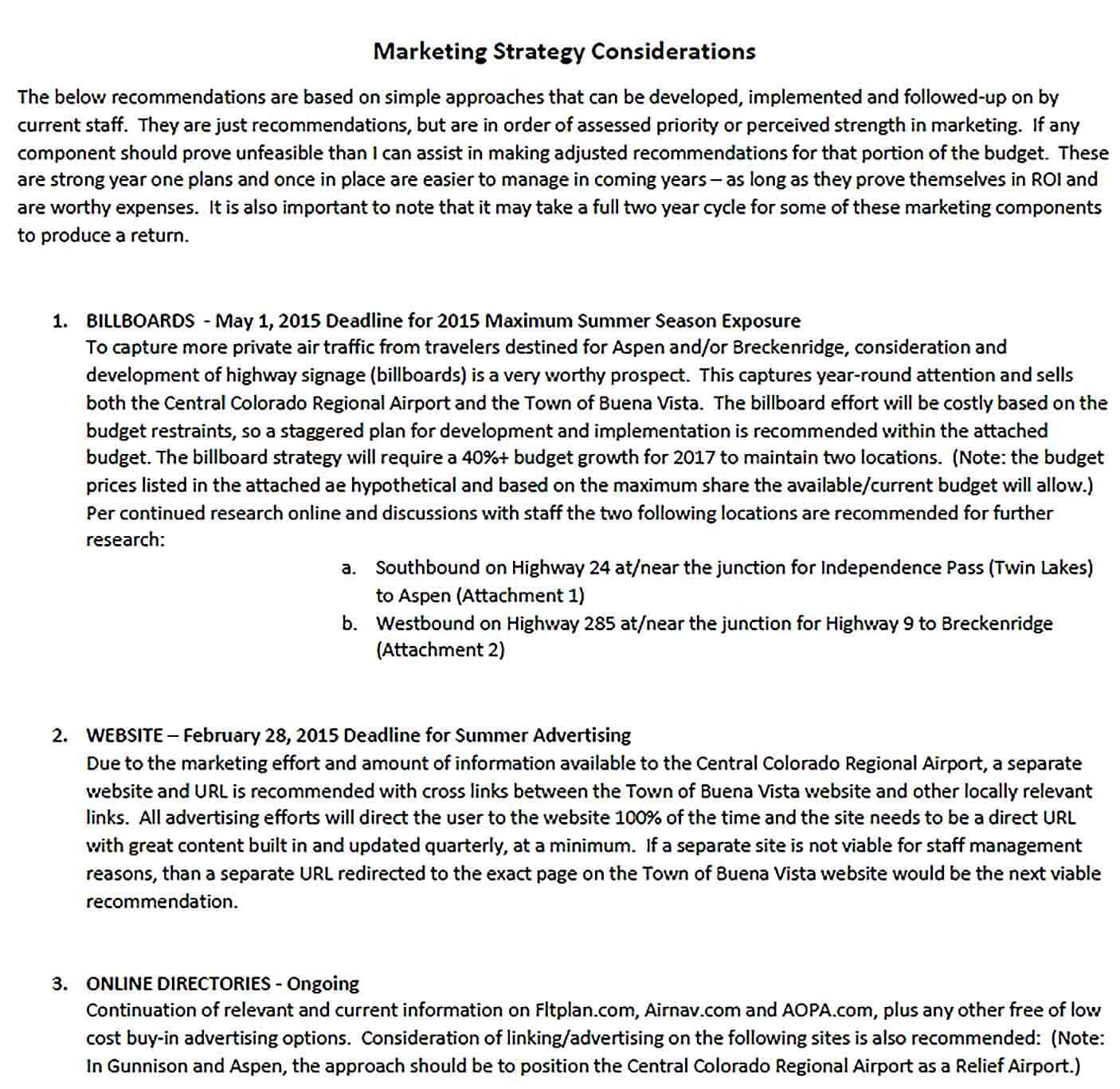 Sample Marketing Strategy Report Template