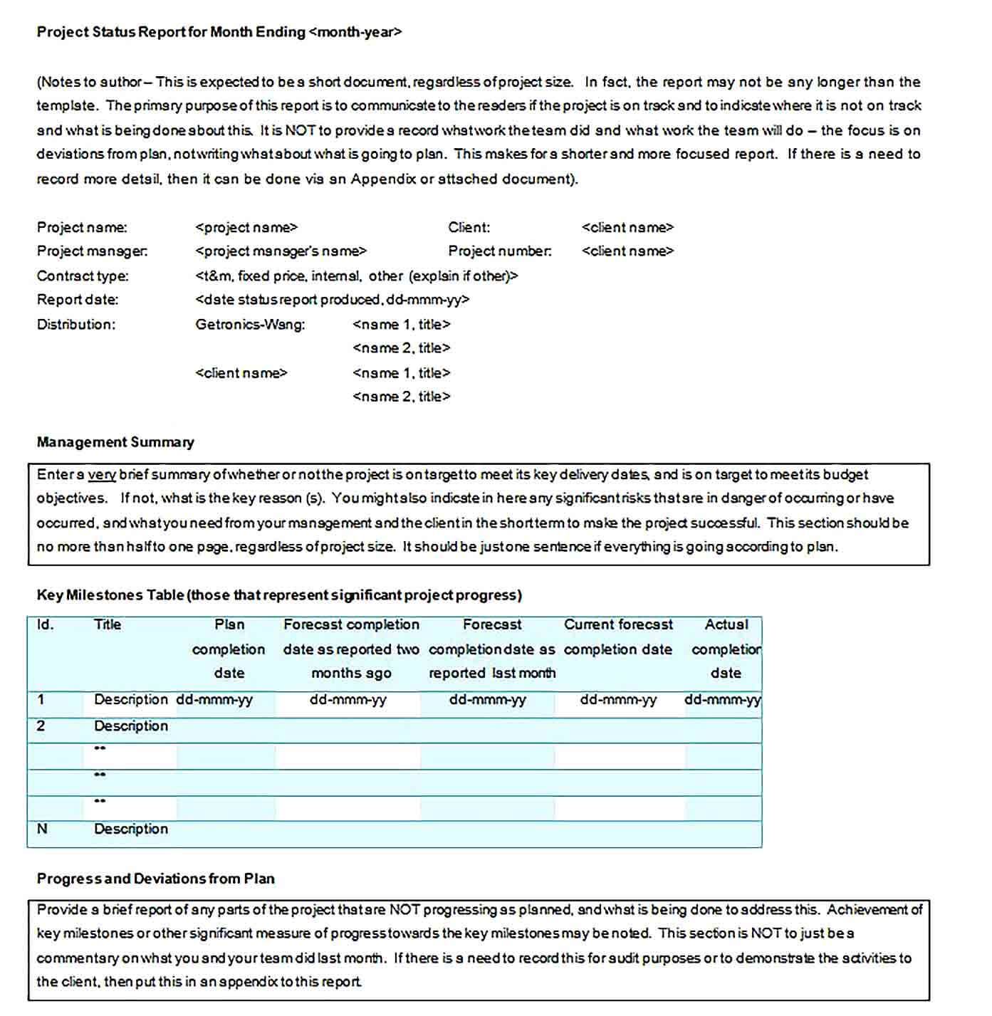 Sample Monthly Project Status Report Template