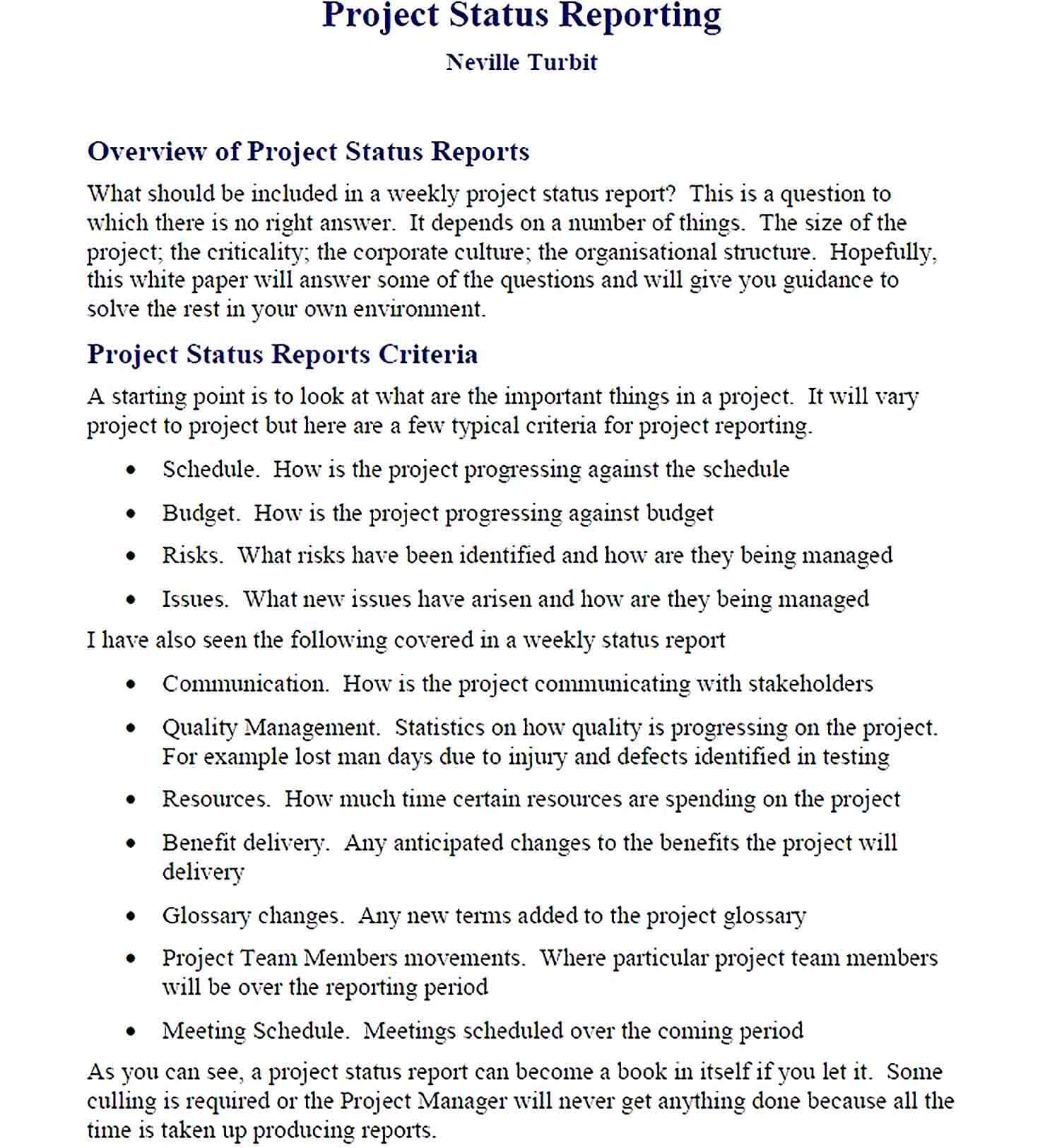 Sample PDF Format Project Status Reporting Template 1