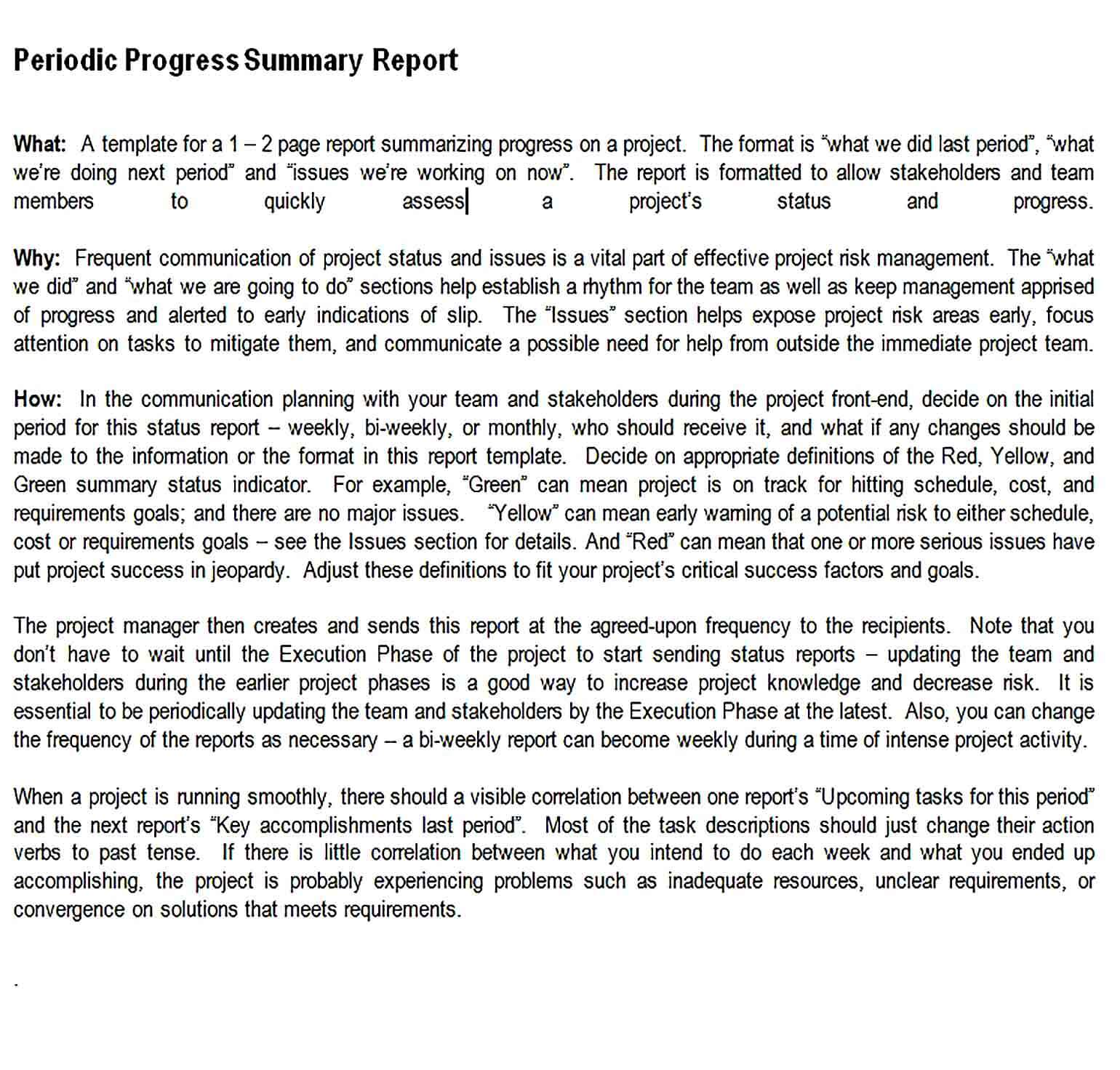 Sample Periodic Summary Progress Report Word Template