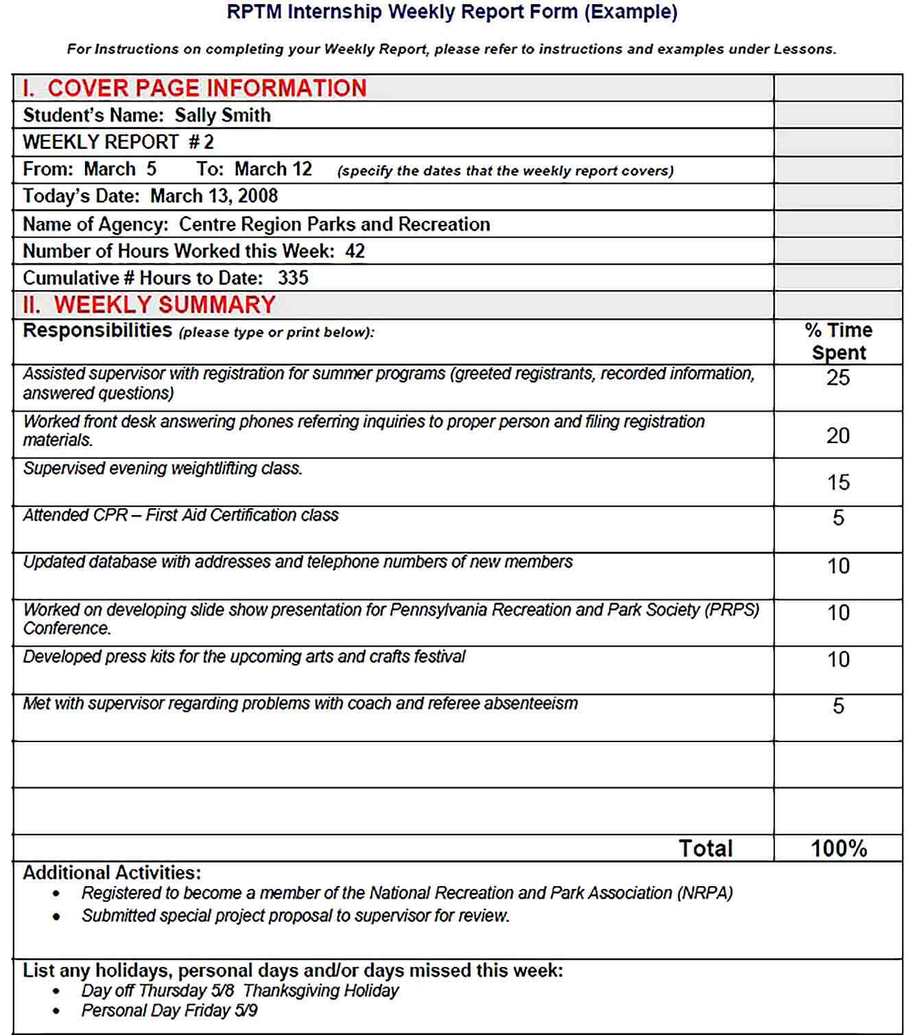 Sample Printable New Weekly Report Form Example