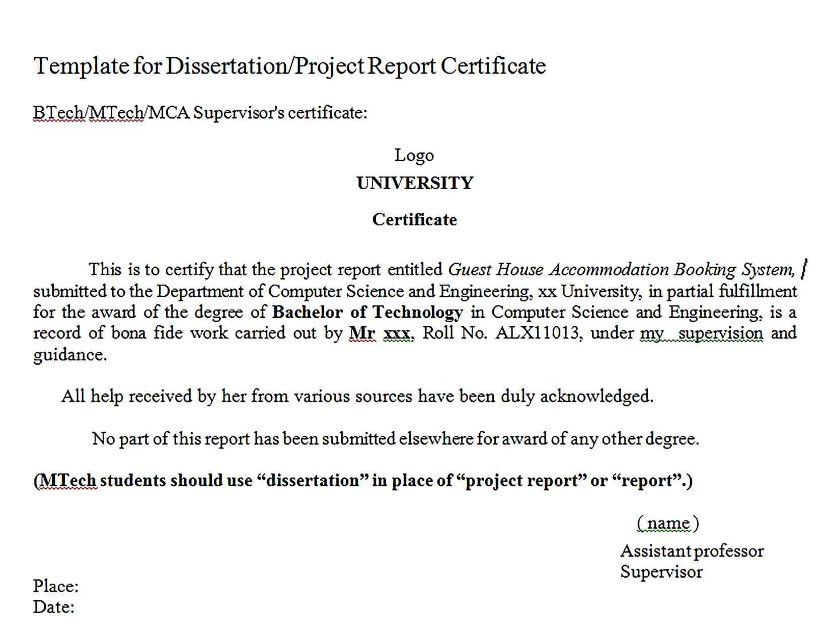 Sample Project Report Certificate Format