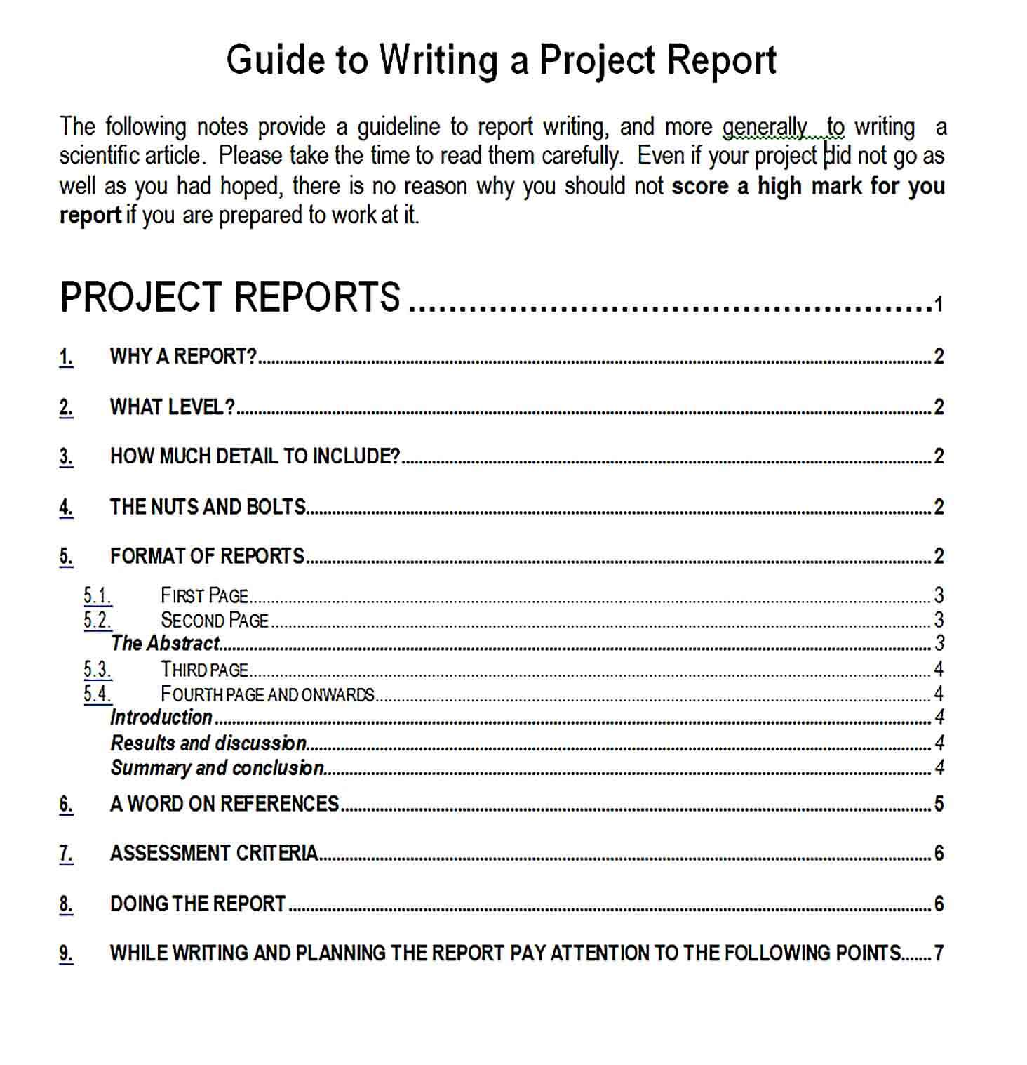Sample Project Report Writing Format