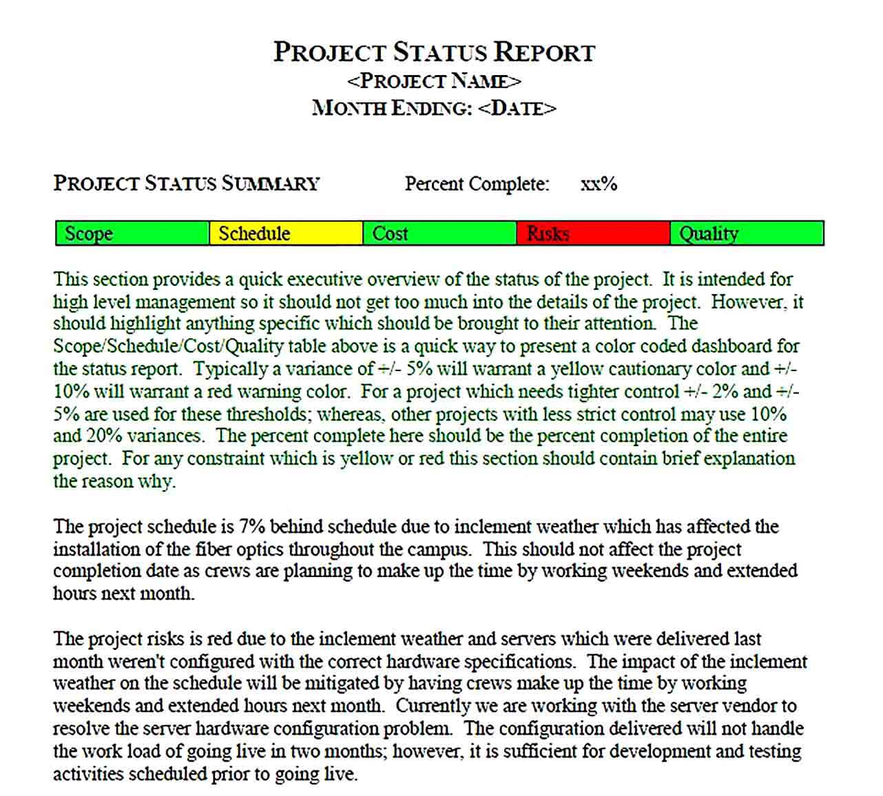 Sample Project Status Report PDF Format Template 1