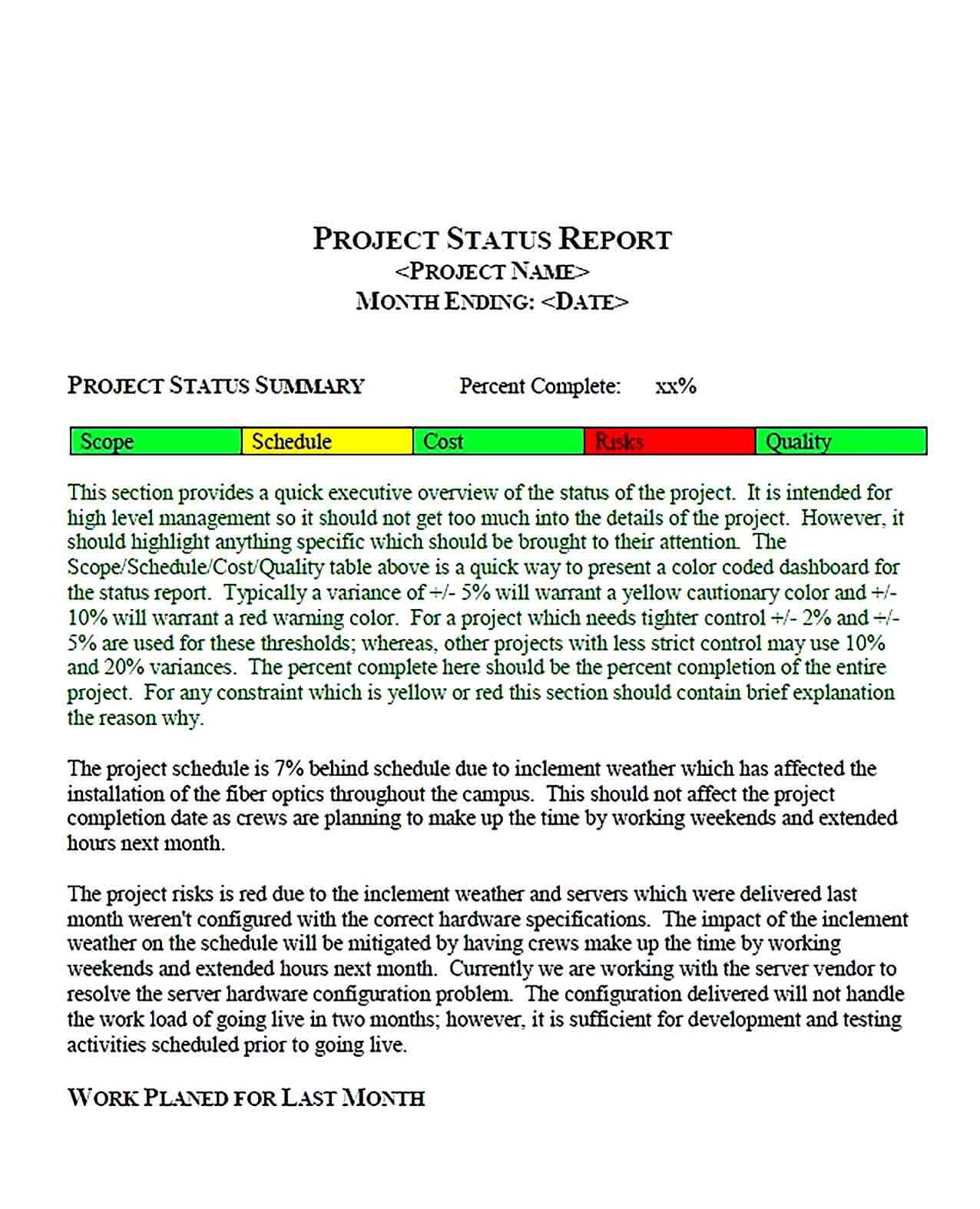Sample Project Status Report PDF Format Template