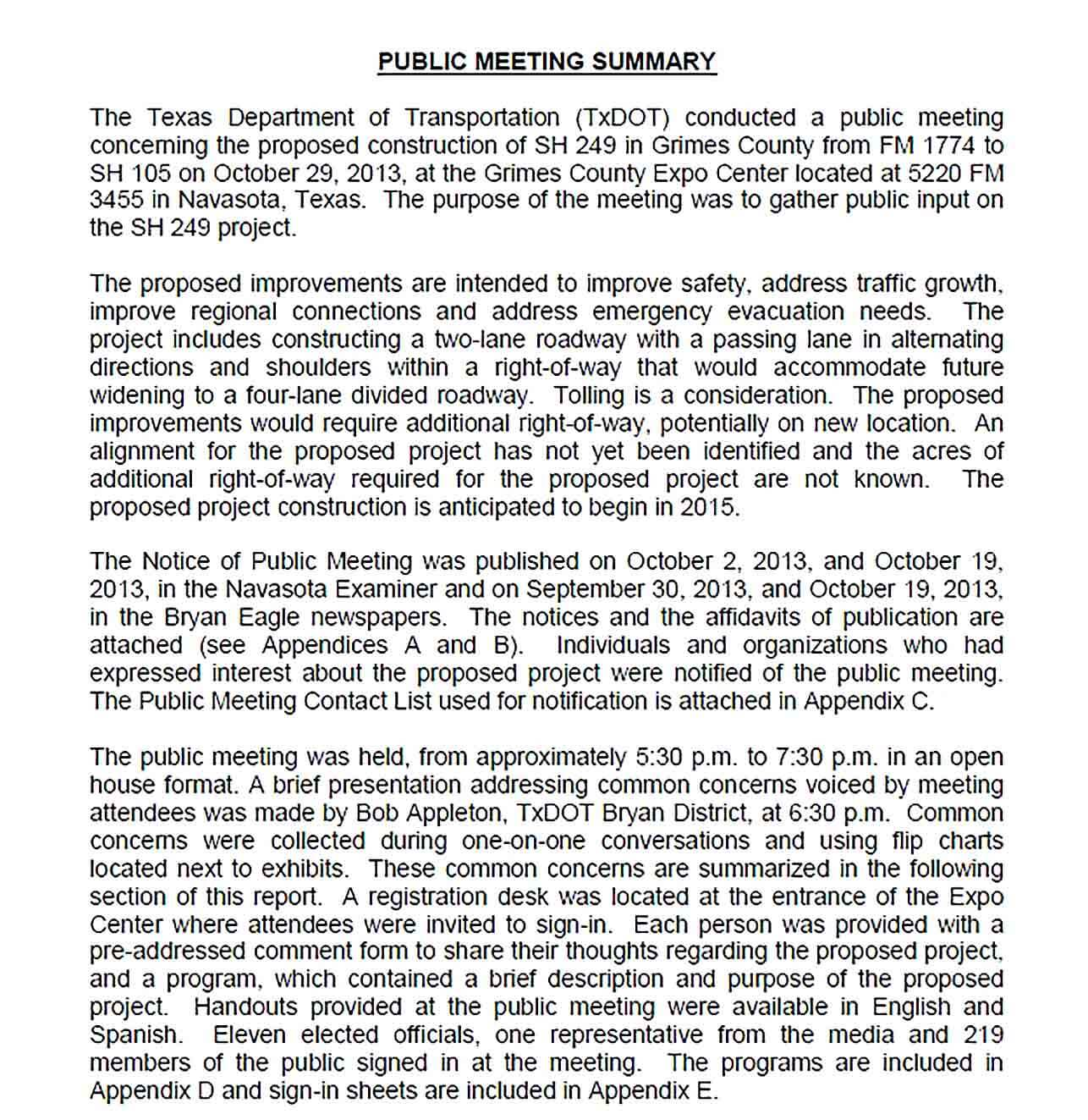 Sample Public Meeting Summary Report PDF