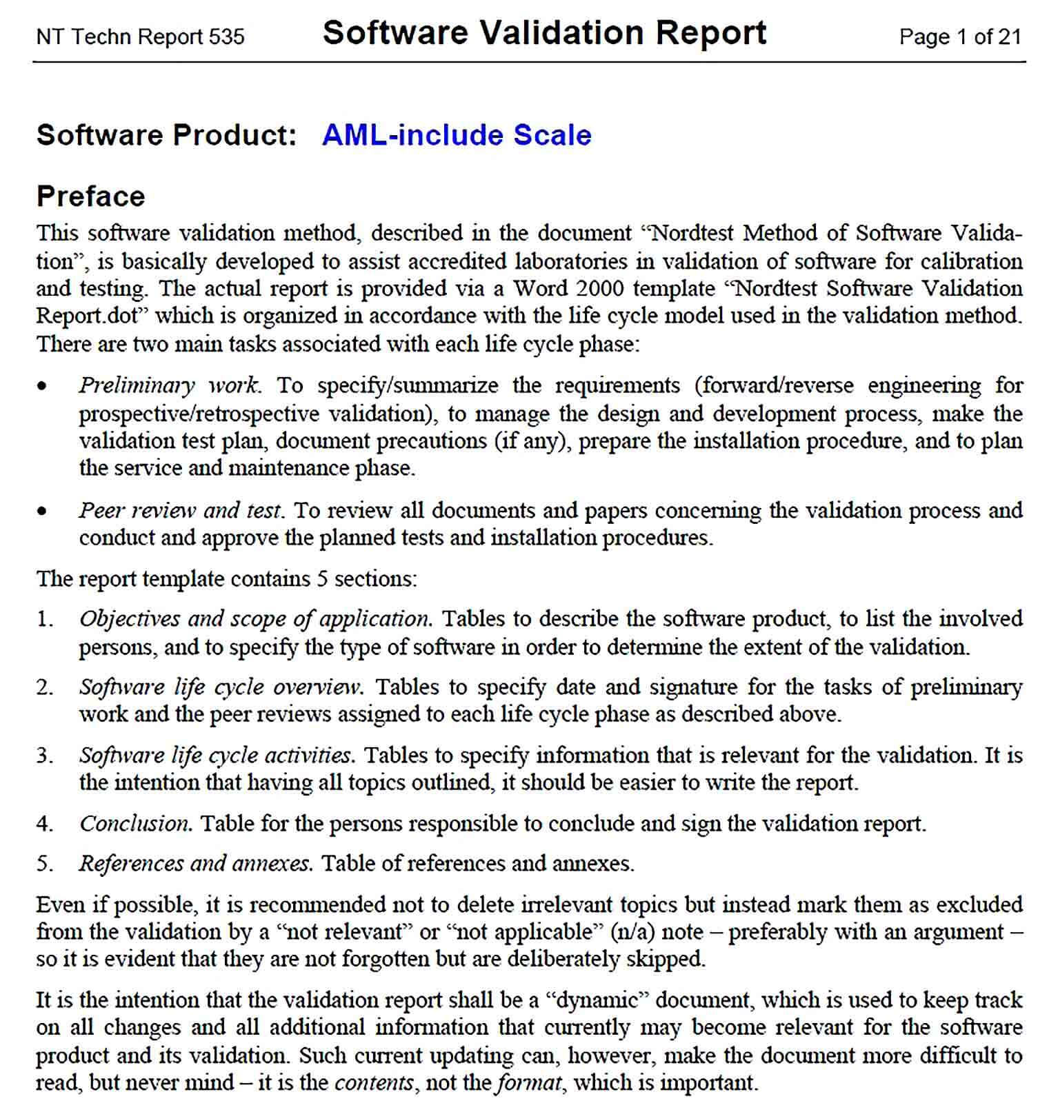 Sample Software Validation Report