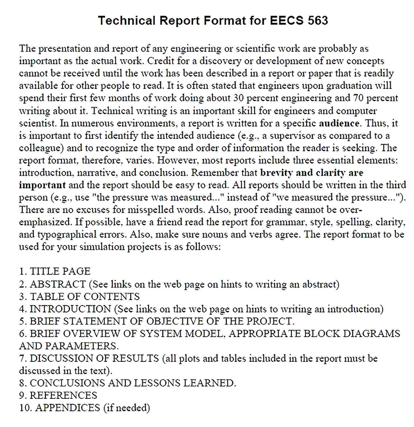 Sample Technical Report Format