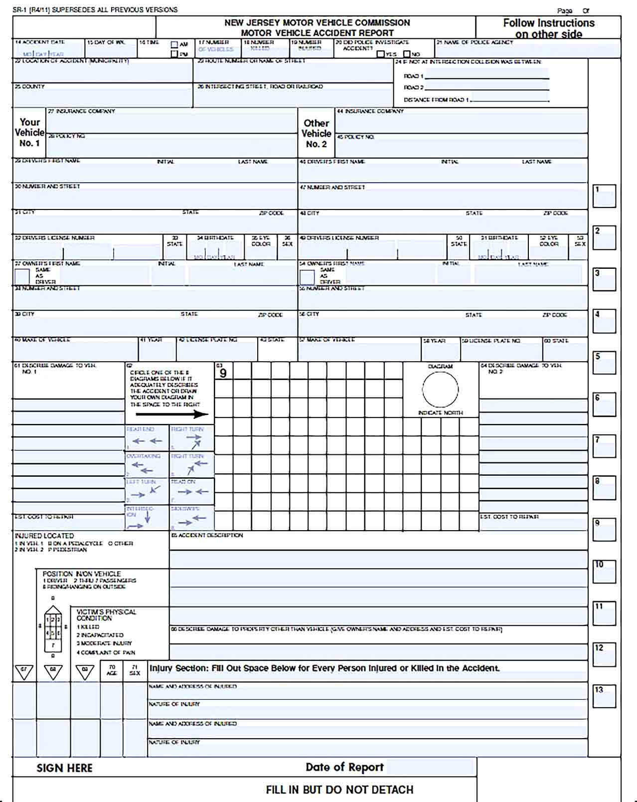 Sample Vehicle Accident Report Forms Template