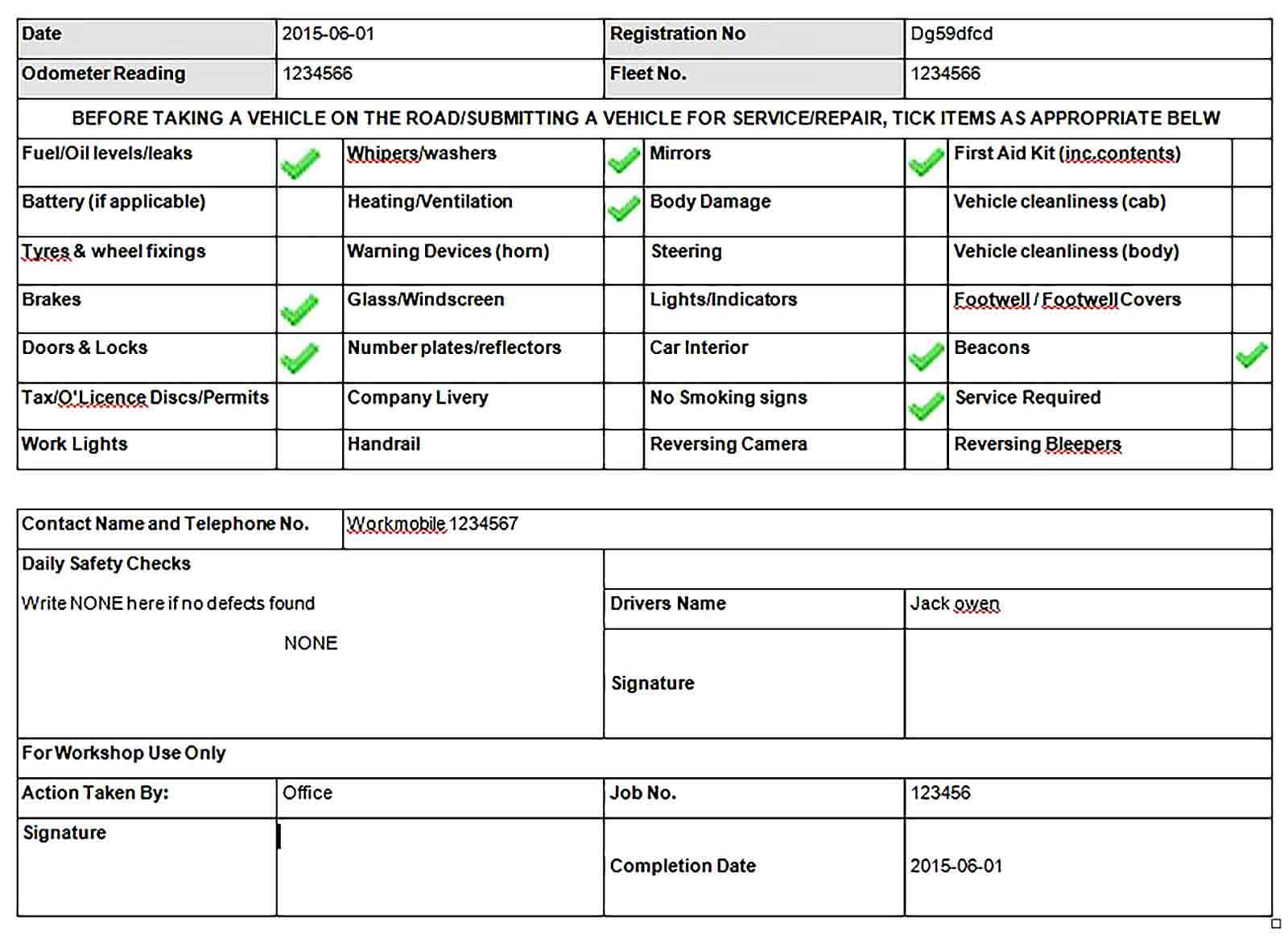 Sample Vehicle Defect Report Template