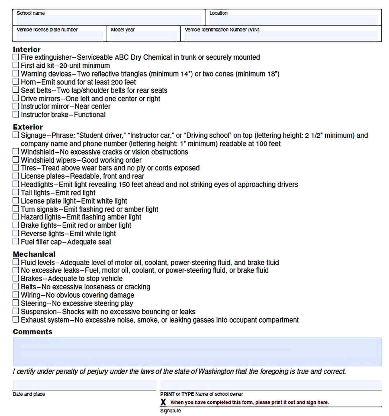 Sample Vehicle Inspection Report Template