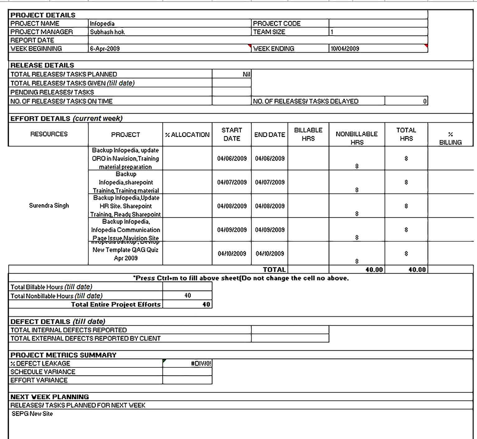 Sample Weekly Project Status Report Excel Format Template 1