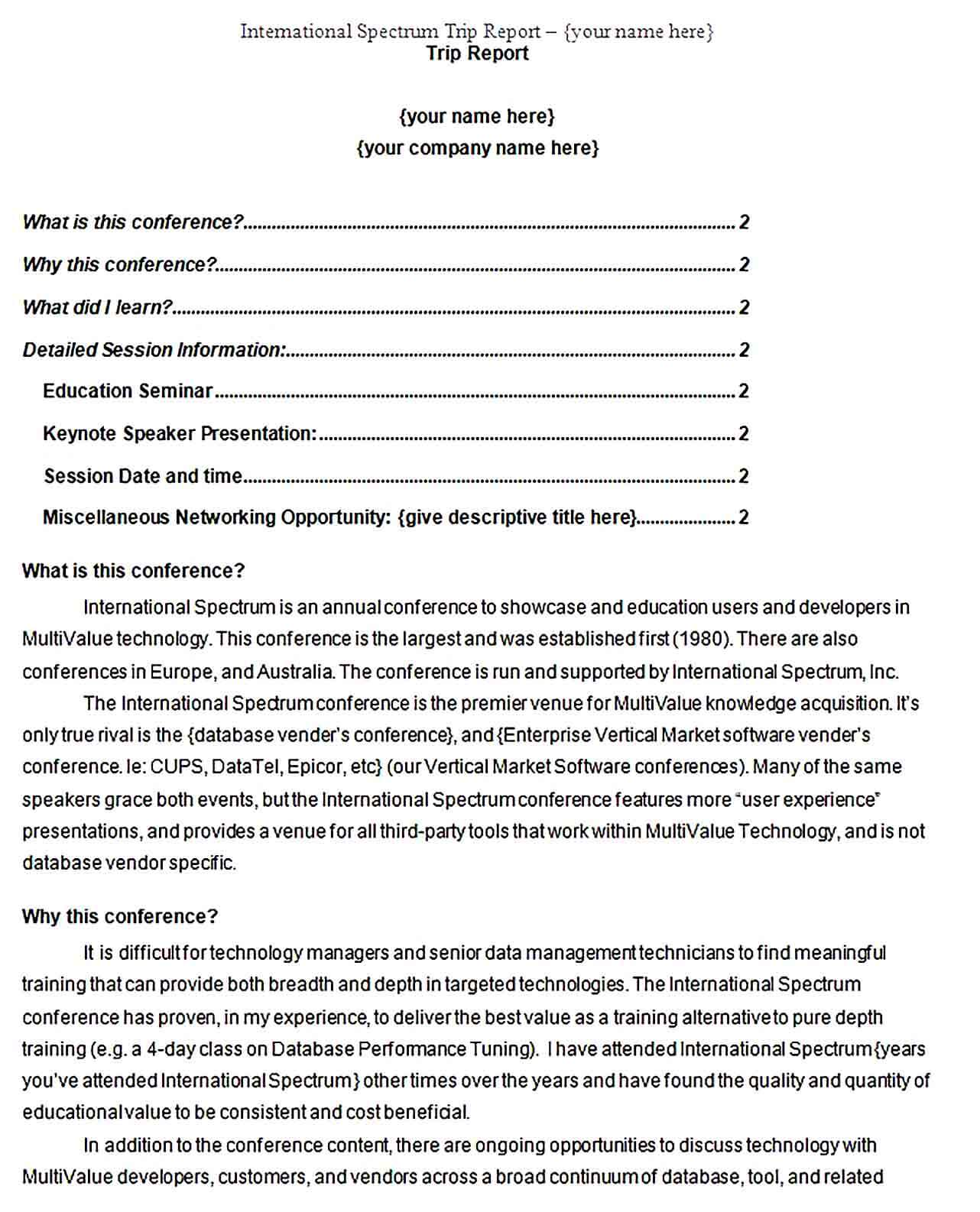 Sample conference trip report template