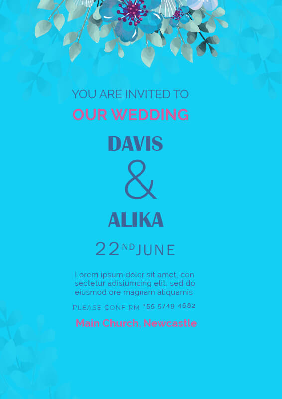 Wedding Invitation customizable psd design templates