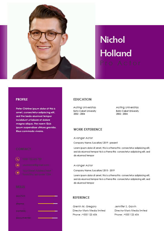 acting resume psd