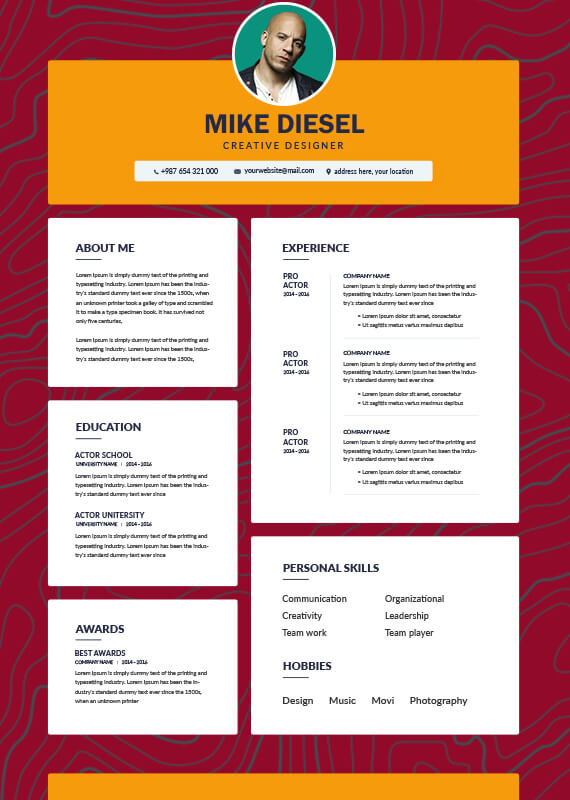 acting resume templates for photoshop