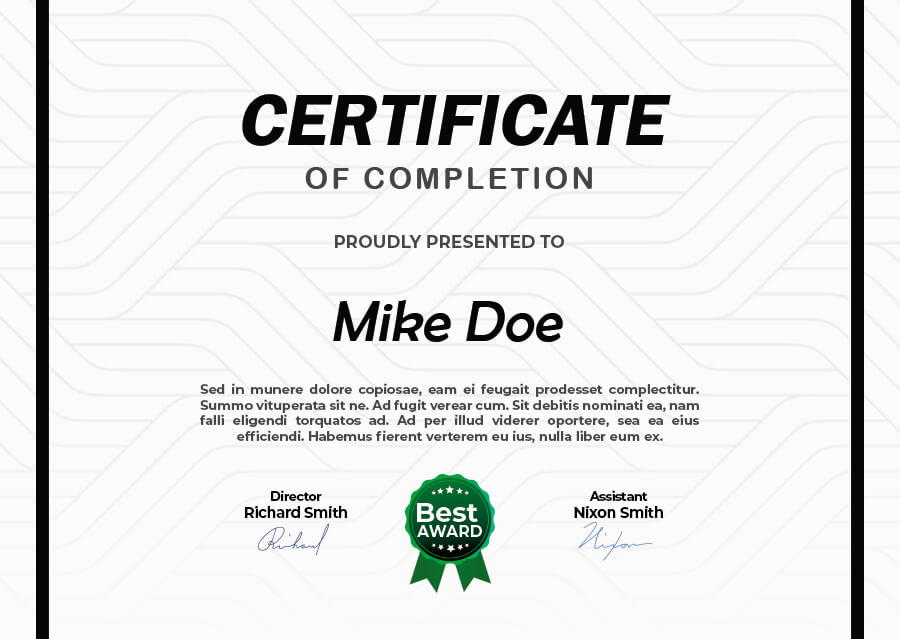 certificate of completion in photoshop