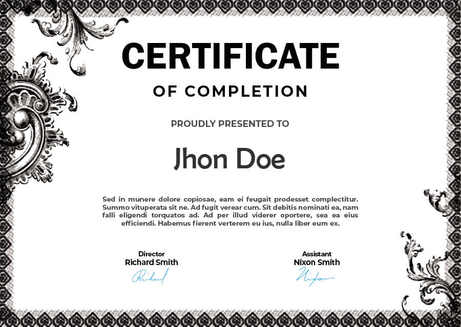 certificate of completion psd templates