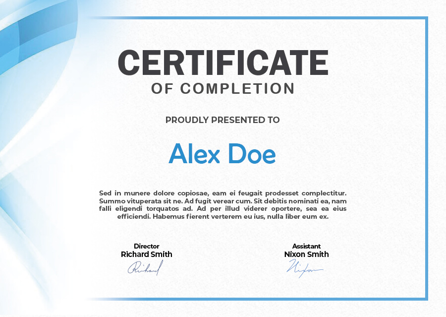 certificate of completion psd