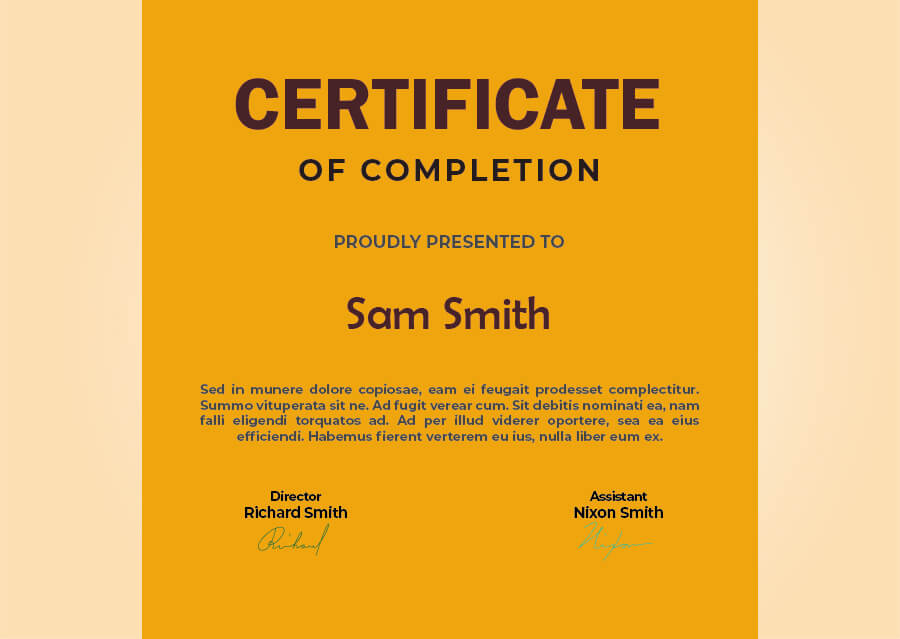 certificate of completion templates psd
