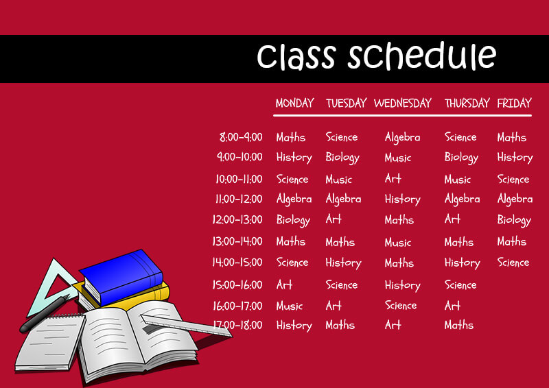 class Schedule templates for photoshop