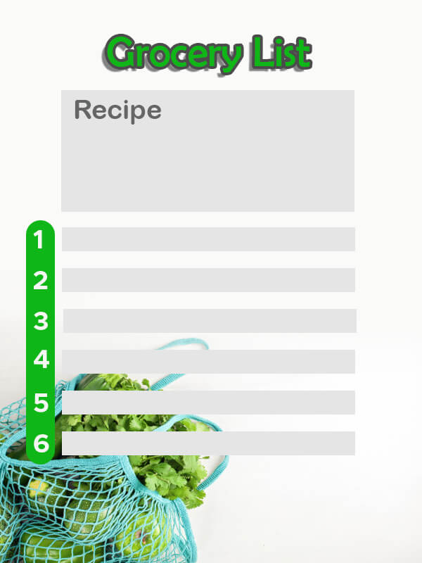 grocery list example psd design