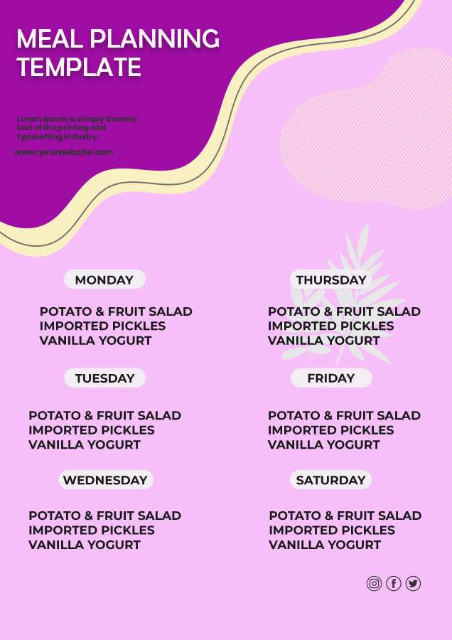 meal planning psd templates