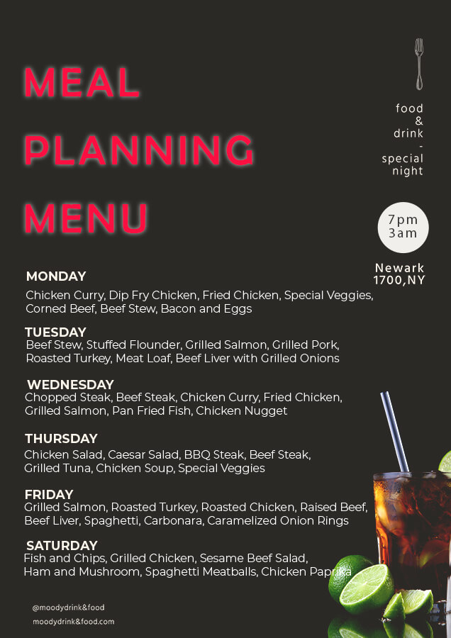 meal planning templates for photoshop