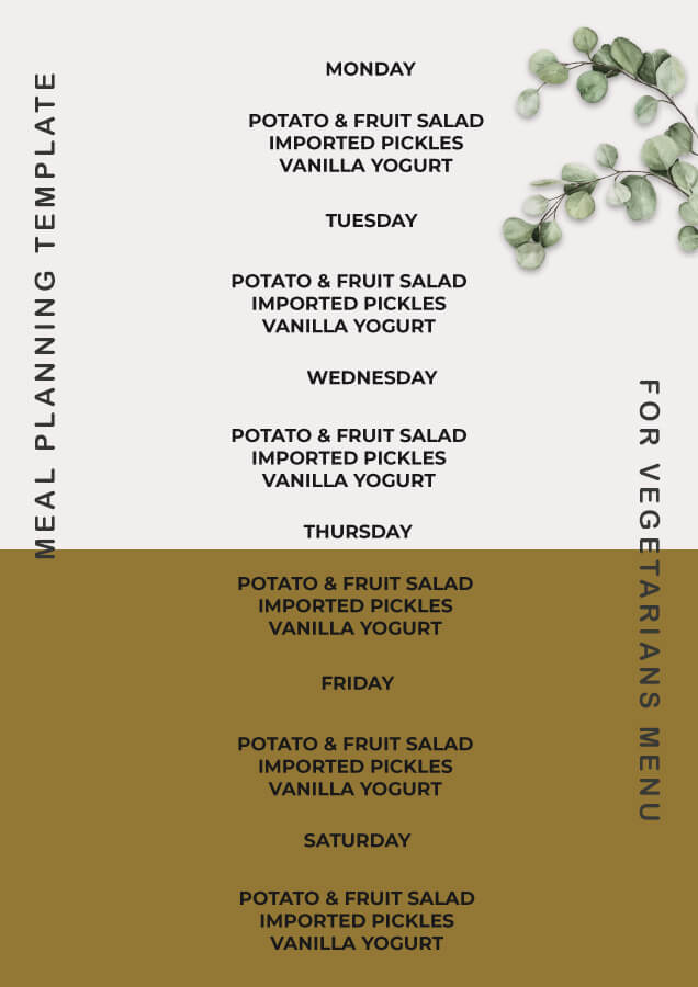 meal planning templates psd