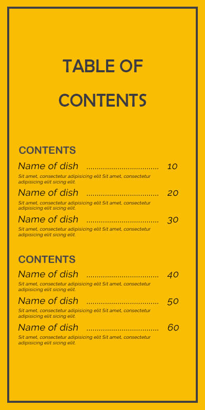 table of contents templates psd