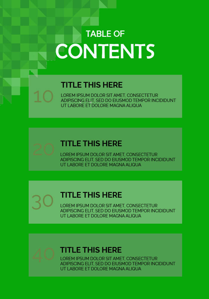 table of contents templates templates psd