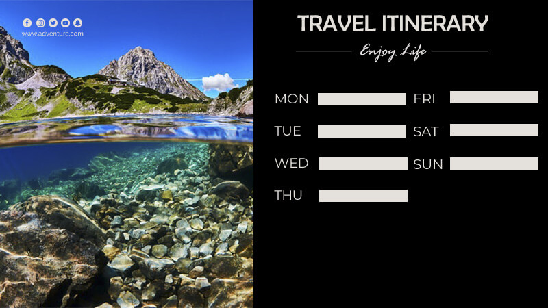 travel itinerary in psd design