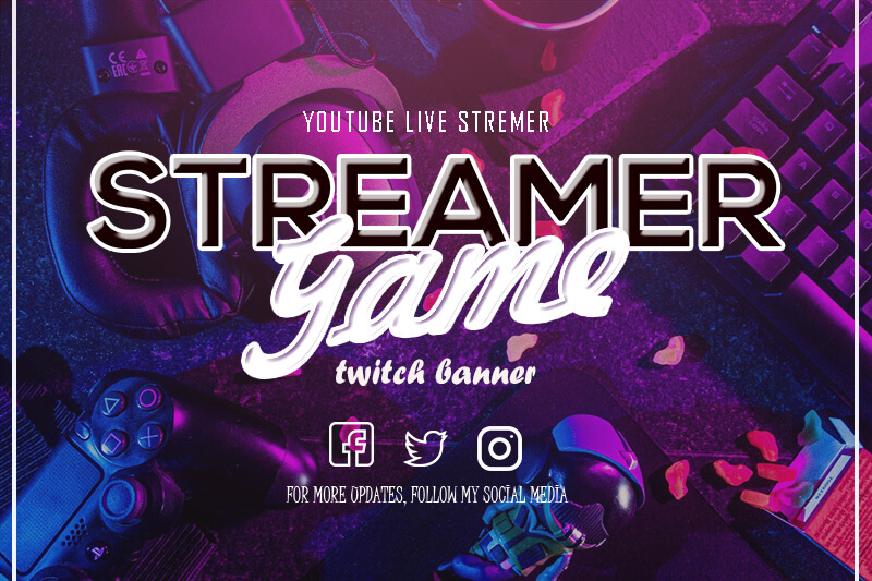 twitch banner example psd design