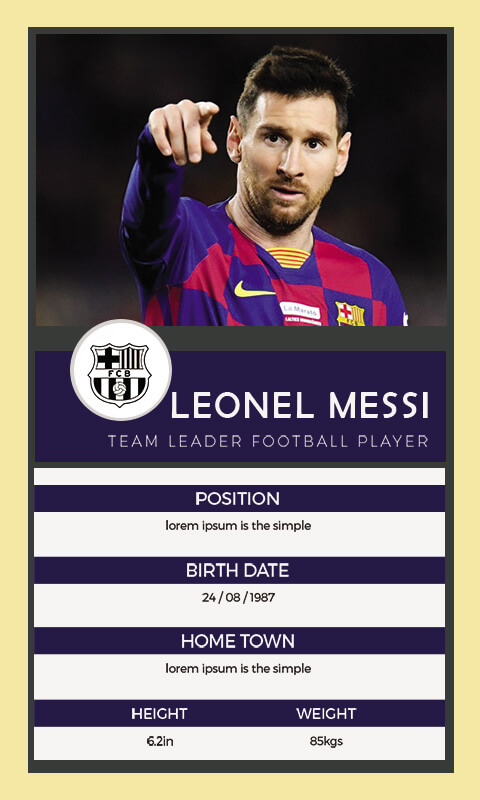 Trading Card example psd design
